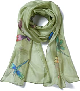 Women's 100% Mulberry Silk Scarf Long Hand Painted Dragonfly
