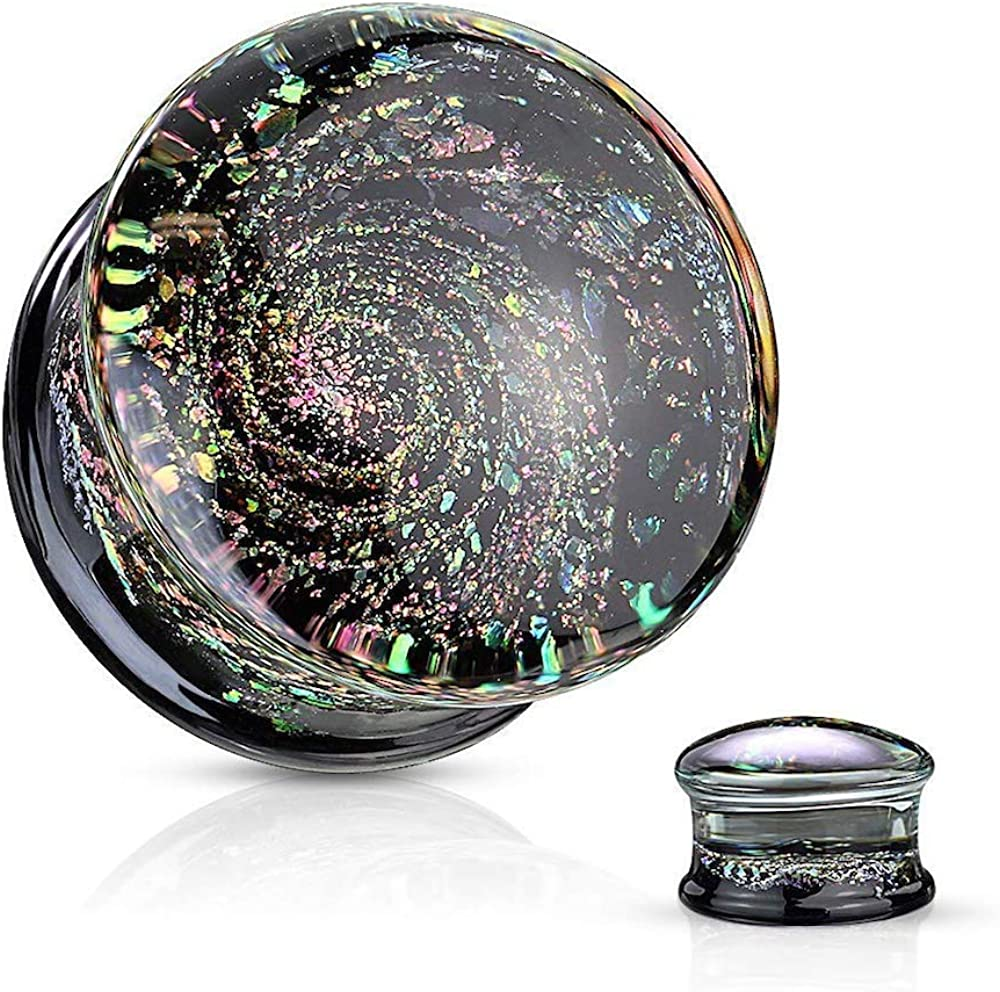 Covet Jewelry Multi Color Sparkle Galaxy Double Flared Glass Plugs