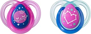 Tommee Tippee Closer to Nature Night Time Newborn Baby Silicone Pacifier, 0-6 Months (Colours May Vary) - Pack of 2