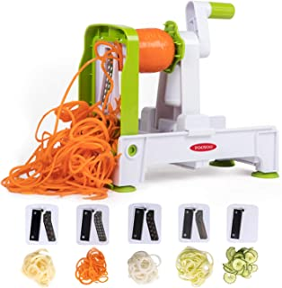 Spiralizer Vegetable Slicer 5-Blade, Zoodle Maker Zucchini Spaghetti Maker, Strongest-and-Heaviest Duty Veggie Spiralizer with Brush - FOOYOO