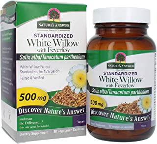 Nature's Answer White Willow Bark Capsules Organic with Feverfew Vegetarian Capsules Powder, 60-Count | Inflammation Suppo...