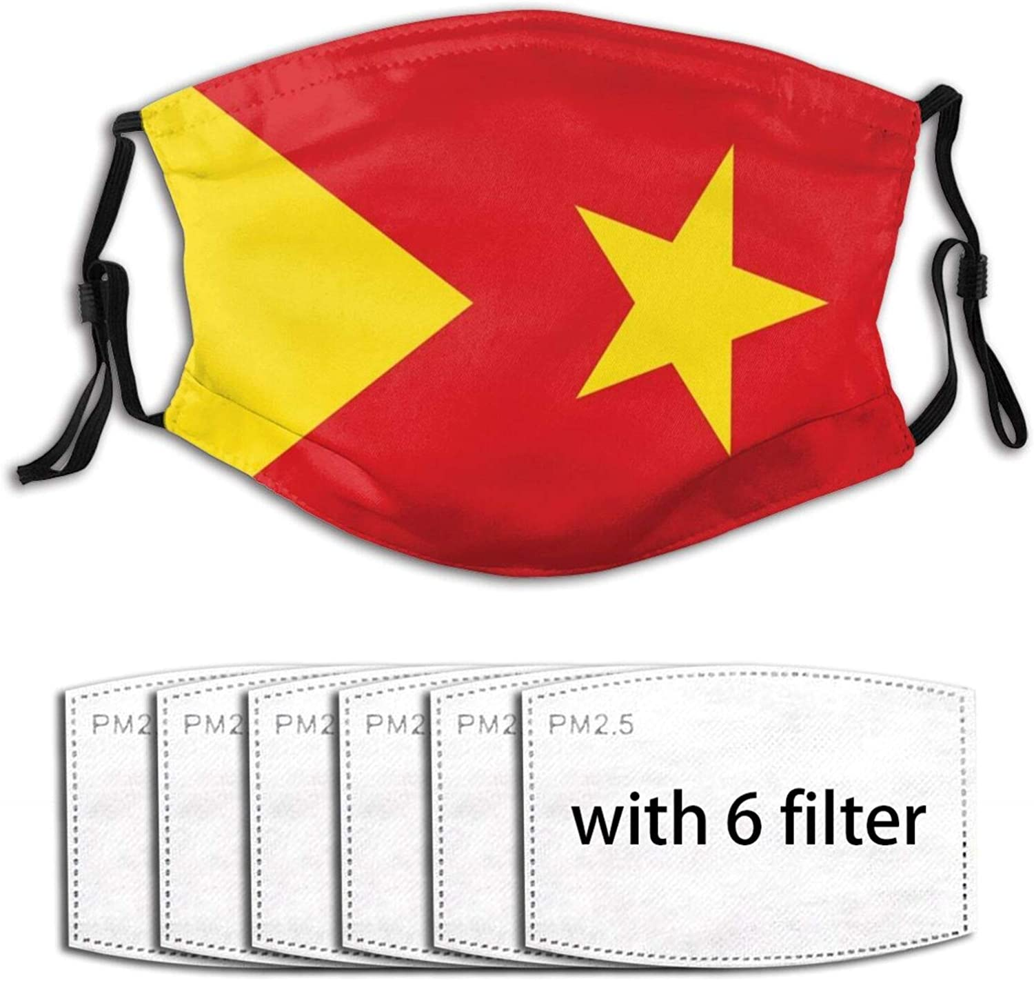 Flag of The Tigray Region Ethiopia Face with 6 Filters Washable Balaclava Dust Bandanas Dust Neck Gaiter Bandanas for Outdoor Sport Dust Sun Wind