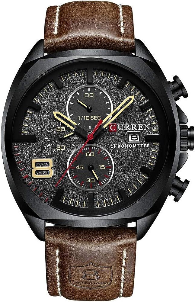 Reloj Hombres Impermeable Cronógrafo Deporte Militar Hombre Reloj Cuero Hombre Reloj Relogio Masculino