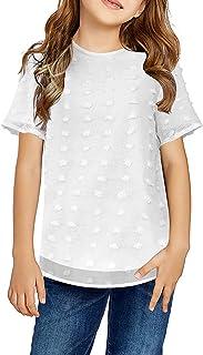 Dokotoo Girls Short Sleeve Chiffon Blouses Casual Round Neck Tee Shirts Loose Tops