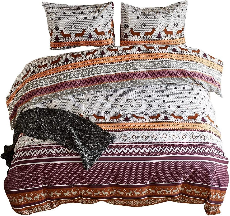 Literie respirante en polyester Literie de chambre à coucher tressée réversible multiCouleure (taille   Queen)