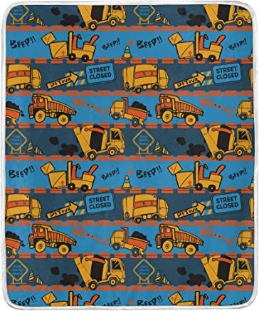 ALAZA Gray and Blue Stripe Construction Truck Plush Throws Siesta Camping Travel Fleece Blankets Lightweight Bed SOFE Size 50x60inches