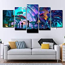 Fxwj 5 Pieces HD Print Painting On Canvas Rick and Morty Modern Home Wall Art Decor Picture Artworks,A,150x75cm