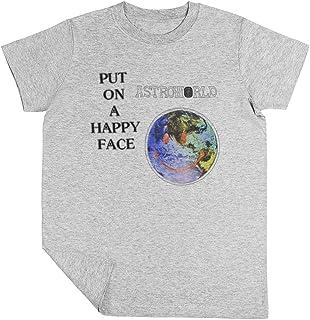 Astroworld Put On A Happy Face Logo Niño Niña Unisexo Gris Camiseta Manga Corta Kids Grey T-Shirt