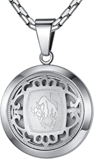"""Aoiy Stainless Steel Zodiac Horoscope Sign Pendant Necklace, Unisex, 21"""" Chain"""