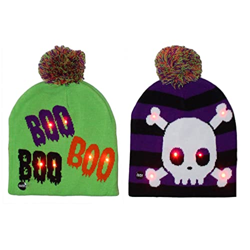 ce5ceb892aadf Gilbin 2 Pack Halloween Light up Costume Beanie Hat Cap One Size Fits Most  Cute and