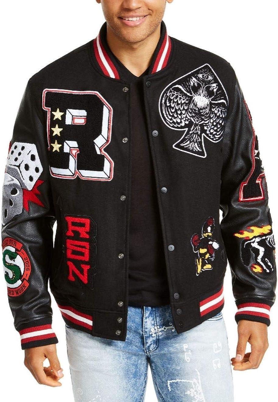 Men's Spoiler Varsity Baseball Letterman Bomber School College Black Wool & Genuine Black Leather Sleeves Logo Jacket