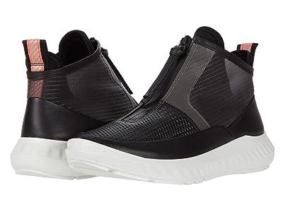 ECCO ST.1 Lite Mid Cut Zip Sneaker (Black Cow Leather) Women