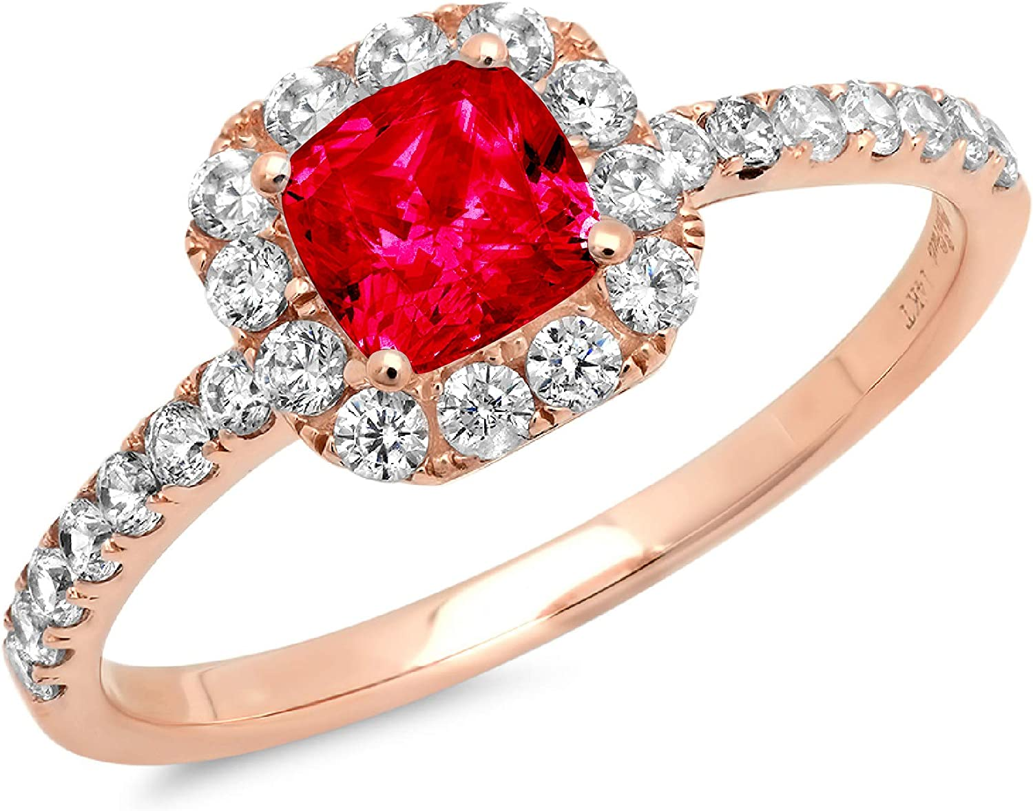 1.34ct Brilliant Princess Cut Solitaire with accent Flawless Ideal VVS1 Simulated CZ Red Ruby Engagement Promise Statement Anniversary Bridal Wedding Designer Ring 14k Rose Gold