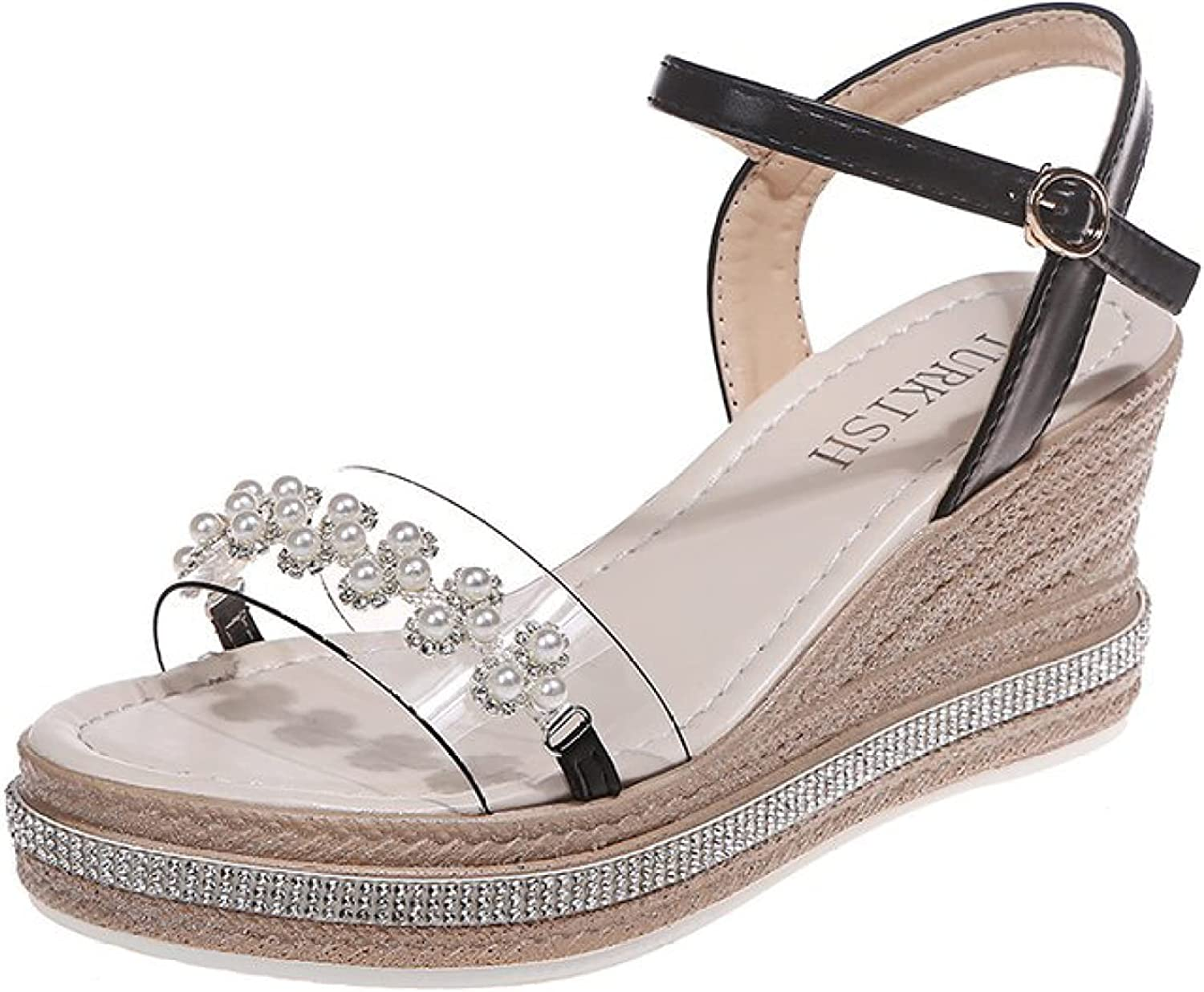 Rhinestone Wedge Shoes for Womens Outdoor Small Bead Floral Open Toe Fashion Fairy Sandal For Party Dress