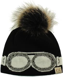 Kids CC Black Label Ages 2-7 Real Fur Pompom Stretchy Knit Beanie Cap Hat