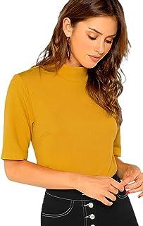 SheIn Women' Casual Solid Tee Mock Neck Short Sleeve Boxy Crop Top T-Shirt