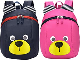 Mini Oso Escuela Mochila - ZSWQ Mochila para Niños, Anti Pérdida de Niños Mochila, para Bebé Niño Niña Pequeños 1-5 AñOS, 2PCS (Azul Oscuro, Rosa)
