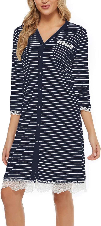 Aoymay Women's Nightgown 3/4 Sleeve Sleep Nightshirt Loungewear Striped Button Down Pajama Dress