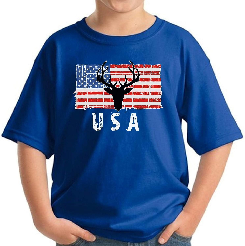 Awkward Styles Hunting Deer USA Youth Shirt Proud American Pro America Kids T Shirt