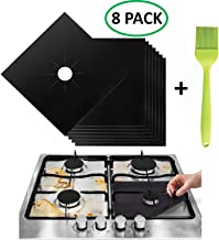 Stove Burner Covers - Gas Range Protectors Countertop Accessories for Kitchen Reusable, Non Stick, Dishwasher Safe, Heat Resistant Stovetop Guard 8 Pack with Silicone Oil Brush