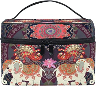 MOFEIYUE Travel Makeup Bag Indian Ethnic Elephant Mandala Portable Cosmetic Case Organizer Toiletry Bag Pouch Makeup Train Case for Women Girls