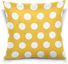 "MASSIKOA White Polka Dots Yellow Decorative Throw Pillow Case Square Cushion Cover 16"" x 16"" for Couch, Bed, Sofa or Patio..."