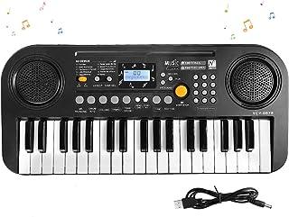 SANMERSEN 電子キーボード 37鍵盤 卓上ピアノ ミニ楽器キーボー LCD液晶ディスプレイ搭載 USB給電式・電池給電式 CPC&CE認証取得済 日本語取扱説明書付き ブラック「楽譜付き」「2020年進化版」