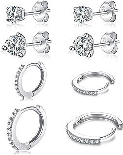 Sterling Silver Stud Earrings for Women Men Girls, Small Round Cubic Zirconia Bezel Stud Earrings | Tiny Hypoallergenic Ca...