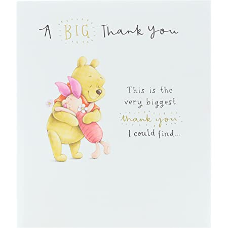 UK Greetings Thank You Card - Disney Card - Featuring Winnie the Pooh and Piglet, 606266-0-1