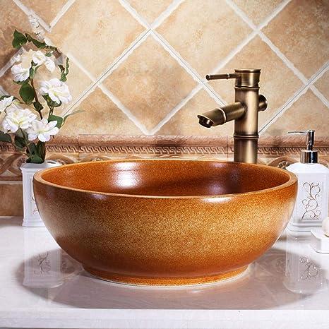 Gorheh Brown Europe Style China Hand Made Ceramic Porcelain Bathroom Sink Artistic Wash Basin Countertop Sink Amazon De Home Kitchen