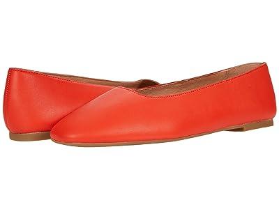 Madewell Corina Square Toe Flat (Flame Leather) Women