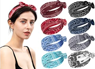 habibee 8 Pcs Headbands for Women Boho Rabbit Ear Wide Headbands Flower Printed Hair Band with Bows Fashion and Sport Hair Accessories for Women and Girls