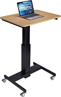 """Rocelco 28"""" Height Adjustable Mobile School Standing Desk   Quick Sit Stand Up Home Computer Workstation   Gas Spring Assist Office Laptop Riser Cart   Wood Grain (R MSD-28)"""
