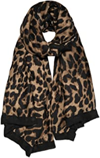 SOJOS Fashion Leopard Pattern Lightweight Chiffon Silk Women Scarf SC321