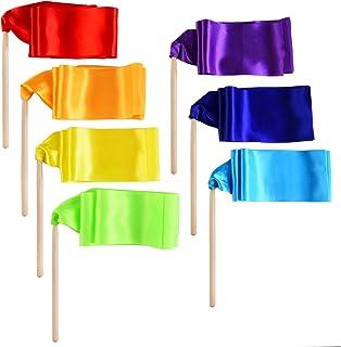 7 Stück Tanzband Stick Ribbon Gym Bänder Tanzen Streamer Twirling Ribbon mit Holz..