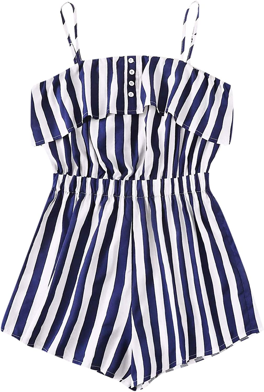 Milumia Women Plus Size Casual Striped Cami Romper Button Sleeveless Spaghetti Strap Jumpsuit