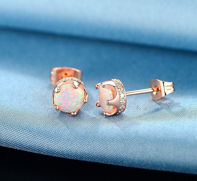 GEMSME Opal Halo Cubic Zirconia Stud Earrings Hypoallergenic Jewelry for Women Girls