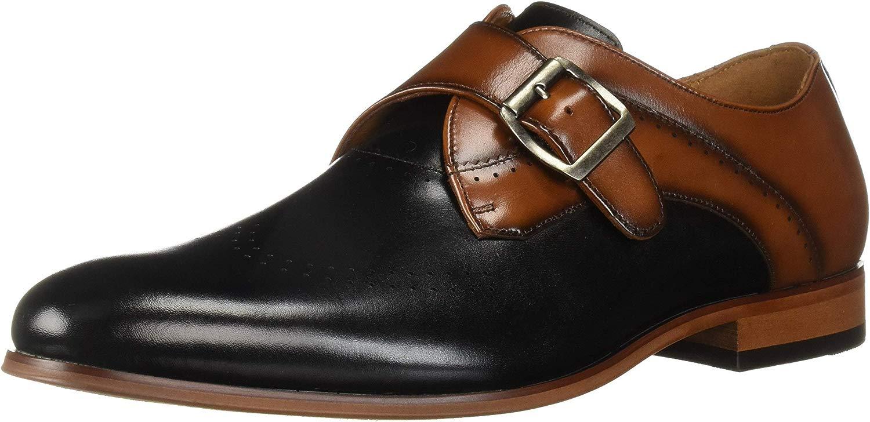 STACY ADAMS Men's Saxton Perf Wingtip Monk Strap Loafer, schwarz Cognac, 7.5 M US