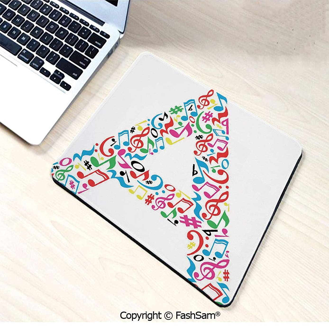 Non-Slip Rubber Mouse Pads Graphic Composition with Do Re Mi Art Symbols Letter A Lively Colors Inspirational for Computers Laptop Office(W7.8xL9.45)