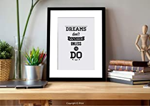 AmaUncle ?05839 Wall Art with Frame,Motivational, Dreams Don`t Work Unless You Do Old Fashioned Design Future Goals Training, Coconut Black, Gifts