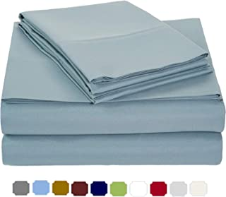 Split Head Bed Sheet Set Queen Size - Adjustable Split-Queen Light Blue Solid 100% Cotton Sheets 15'' deep 400-Thread-Count - Split Head Sheets - Split 28 inches Down from The top…