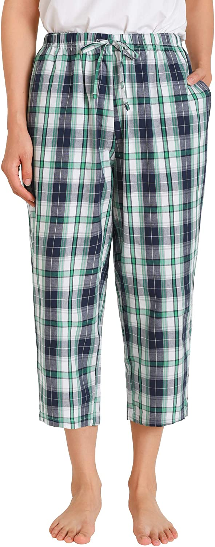 Latuza Women's Capri Pajama Pants Cotton PJ Bottoms with Pockets