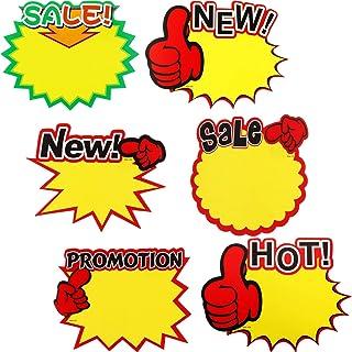60 Etiquetas de Precio Etiquetas de Venta Signos de Explosión de Venta en Blanco Etiquetas de Exhibición Variadas 7 x 5,5 Pulgadas para Bienes Raíces Venta de Garaje Tienda minorista