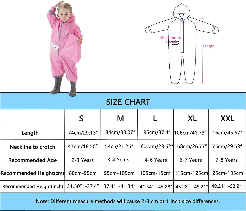 Baogaier Enfants Imperm/éables /à Capuche Imperm/éables Combinaison de Pluie Poncho Veste Respirant Manches Longues V/êtements pour Enfants Unisexe Filles Gar/çons 2-8 ans