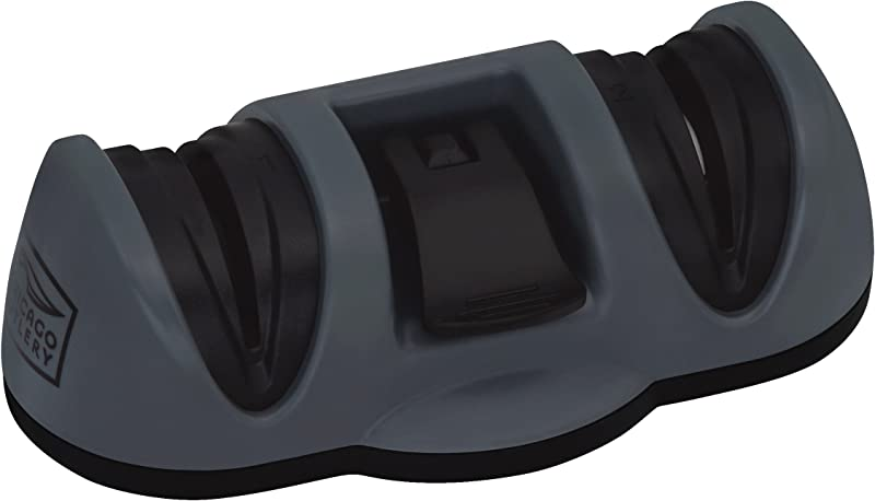 Chicago Cutlery Dual Sharpener With Fine And Coarse Suction Bottom Black