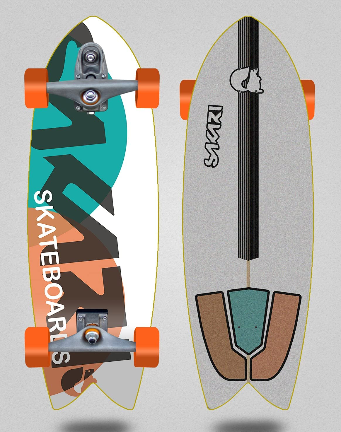 Sakari Surf Skate with At the price of surprise Glutier T12 - FUS Turq Trucks latest