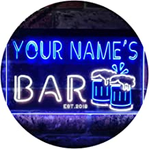 Personalized Your Name Est Year Theme Bar Beer Mug Decoration Dual Color LED Neon Sign White & Blue 400 x 300mm st6s43-w1-...