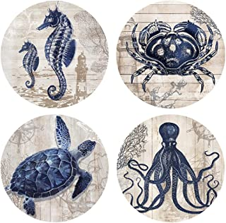 Absorbent Coasters Natural Ceramic Thirsty Stone Navy Blue Octopus Seahorse Crab Turtle Ocean Theme Coaster Set For Drinks Cork Backing (sea animals)