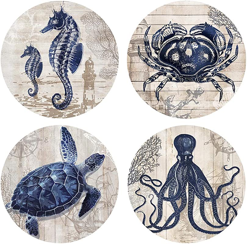 Absorbent Coasters Natural Ceramic Thirsty Stone Navy Blue Octopus Seahorse Crab Turtle Ocean Theme Coaster Set For Drinks Cork Backing Sea Animals