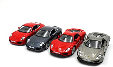 Just For Laughs Porsche Super Car 4 Pack, Diecast 918 Spyder (Glossy Grey + Red) 911 Carrera S (Glossy Grey+Red)